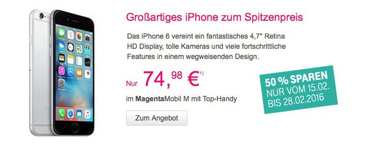 telekom aktion iphone 6 wieder zum halben preis appdated. Black Bedroom Furniture Sets. Home Design Ideas