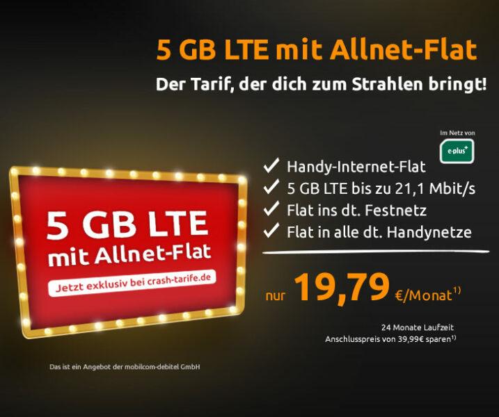 Crash-Aktion: 5GB Allnet Flat für 19.79 Euro monatlich